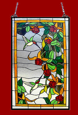 "Hummingbirds Design Tiffany Style Stained Glass Window Panel 32"" L x 20"" W"
