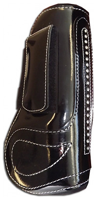Black patent Horse Jump boots with crystals full