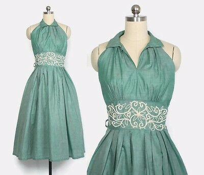 VTG 50s Embroidered Green Chambray Cotton Halter Rockabilly Sun Dress