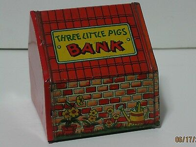 Vintage Tin Litho J Chein Three Little Pigs Coin Bank Blackie Pig House With Key
