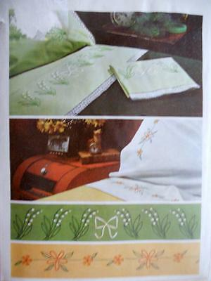 Simplicity 7410 1960s Embroidery Transfer for Lilly of the Valley..Daisy Linens