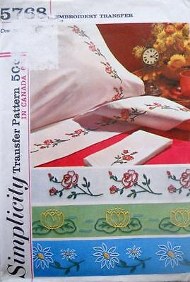 Simplicity 5768 1960s Embroidery Transfer for 3 Different Floral Designs Linens
