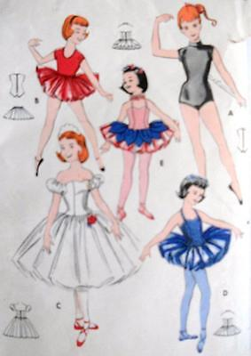 Vintage Butterick Sewing Pattern 8380 GIRLS SET OF BALLET DANCING COSTUMES  SZ 6