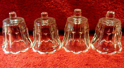 4pc SET VINTAGE HOME INTERIOR HOMCO TULIP SHAPE GLASS VOTIVE CANDLE HOLDERS