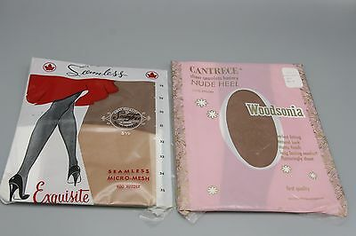 2 Pr Vtg 50s Nylon Stockings Seamless Micro Mesh Size 8.5 15 Denier 400 Needle