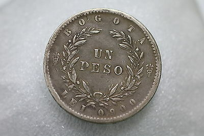 Colombia 1 Peso 1857 Silver Nice Details A69 #9803
