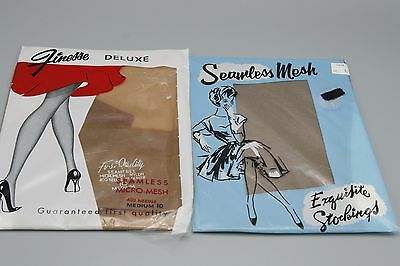 2 Pr Vtg 50s Seamless Nylon Stockings Sz 10 M L Beige Taupe 400 Needle 15 Denier