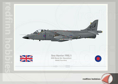 Warhead Illustrated Sea Harrier FRS.1 899NAS RNAS Yeovilton Aircraft Print