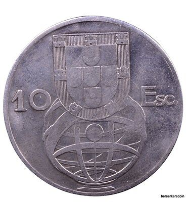 Portugal 10 Escudos 1954  - Previously Cleaned #a2