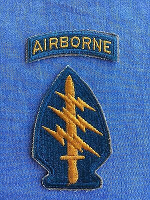 Original 1950's Special Forces Patch, Teal Tab, Khaki Edge