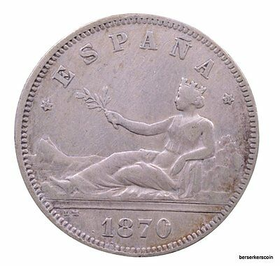 Spain 2 Pesetas 1870  - Previously Cleaned #a2