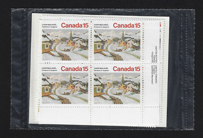 Canada -Set 4 Inscription Corner Blocks -Christmas: Laurentian Village #653 -MNH