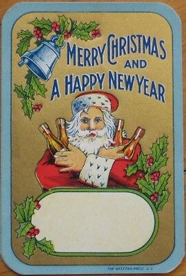 Santa Claus & Wine/Liqueur 1890 Color Litho Label, 'Christmas & New Year'