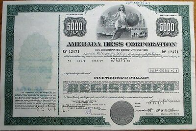 'Amerada HESS' Gas / Oil 1972 $5000 Stock/Bond Certificate - Green