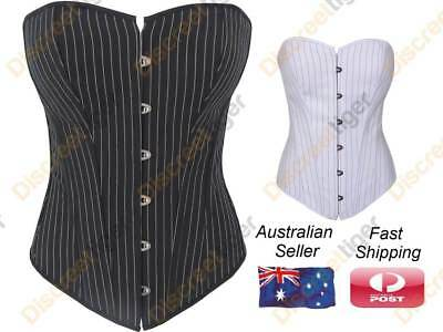 Formal Shapewear Cotton Blend Black And White Pinstripe Corsets In Sizes 6 to 26