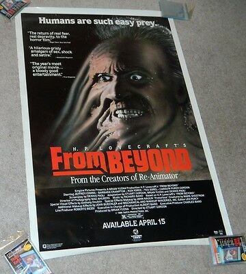 1986 Vintage ORIGINAL Movie Poster FROM BEYOND Video Store 27x40""