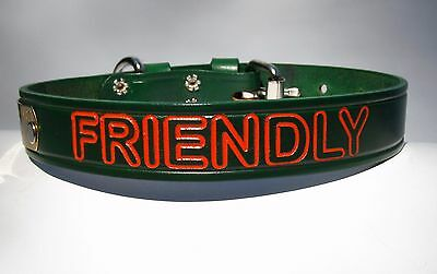 Personalized  Dog collar Green Leather With Pet name in Arial Font and ID tag