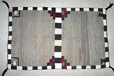 Antique c1910-1925 pictorial Navajo saddle blanket or rug 58x36 inches