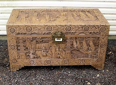 Large Carved Camphor Wood Blanket Box*toy Chest* Internal Storage Shelves*vg Con