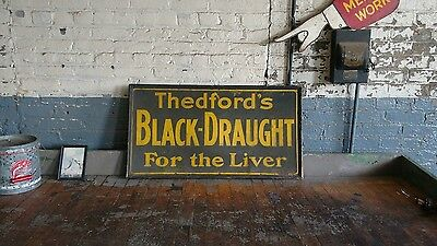 Thedford's Black Draught Liver Pills Medical Drug Sign Glass Paint Advertising