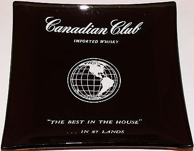 Vintage ashtray CANADIAN CLUB WHISKY The Best in The House smoked glass n-mint