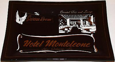 Vintage ashtray HOTEL MONTELEONE Carousel Bar pic New Orleans LA smoked glass