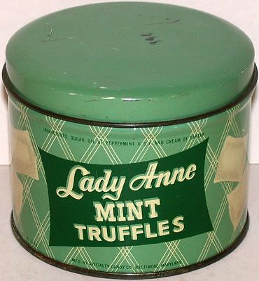 Vintage tin LADY ANNE MINT TRUFFLES with lid Specialty Candy Baltimore Maryland