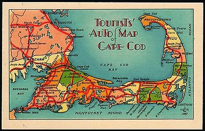 Vintage postcard TOURISTS AUTO MAP of CAPE COD with Driving Distances n-mint