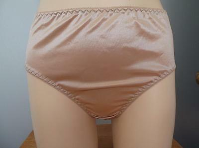 Vintage Style Panties Briefs Nylon Satiny Lace Shiny Silky Lingerie Sissy M