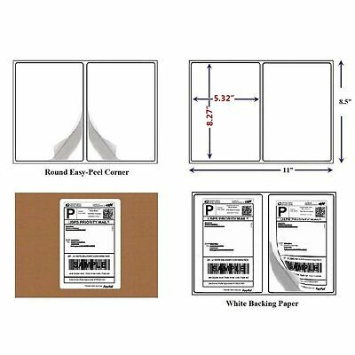 200 Round Corner 8.5x5.5 Shipping Label Half Sheet Self Adhesive for USPS Paypal