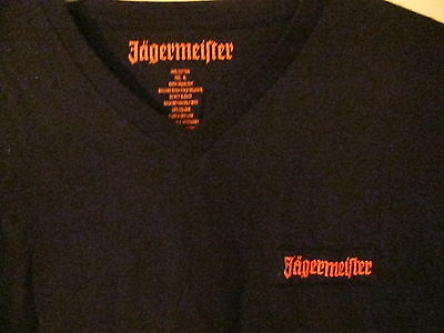 Jagermeister XL V-Neck T-Shirt. Embroidered. 100% Cotton FREE SHIPPING