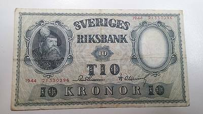 1944 Sweden 10 Kronor Note