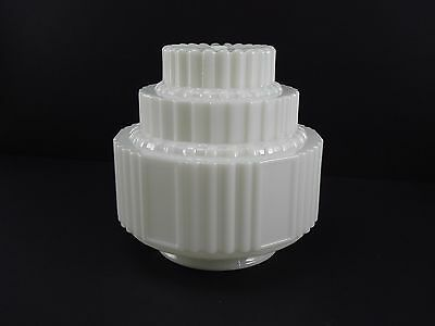 "Vintage Milk Glass Skyscraper Shade Art Deco Ceiling Fixture Light 4"" fitter"
