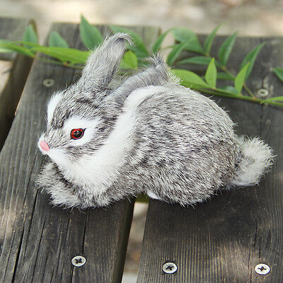 Simulation Rabbit Toy Lifelike Real Furs Rabbit Model Home Furnishing Kids Gifts