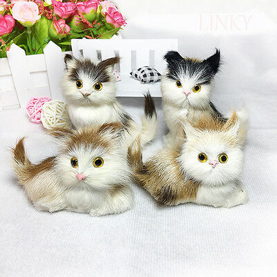 2Pcs Lovely Simulation Cat Cute Toy Fur Animal Kids Children Gifts Home Decor