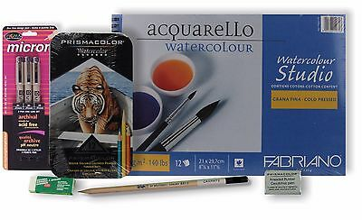 NEW 12 Prismacolor Watercolor Colored Pencils and Supplies, Free Shipping