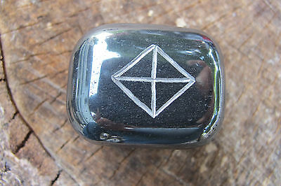 HEMATITE RECTANGLE w/ BIND RUNE - FOR PROTECTION of ONE'S ALTAR or MAGICAL SPACE