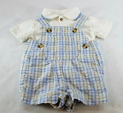 Overall Shorts and Shirt Set Baby Tog Size 3-6 Months Cotton Seersucker