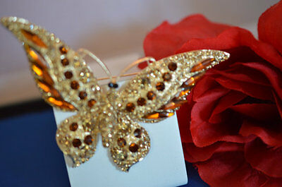 Joan Rivers Wide Wing Autumn Crystal Rhinestone Butterfly Brooch with Romance ca