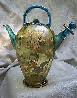 ANTIQUE VENETIAN GLASS CARAFE / DECANTER with ORNATE GOLD BIRDS and FOLIAGE DECO