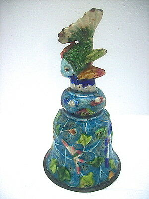 ANTIQUE / VINTAGE CHINESE SILVERED METAL with ENAMEL OVERLAY BELL - FISH FINIAL