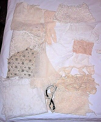 Vintage Early Embroidered Lace, Fabric, Trim Scrap Remnant Lot Antique Victorian