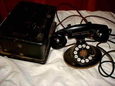 Antique Bell System Rotary Telephone & mag crank box in great shape