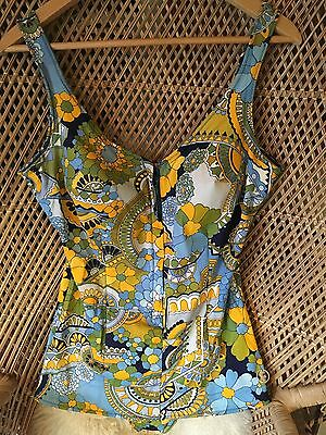 Stunning Vintage 60s Psychedelic Zip Front Swimsuit
