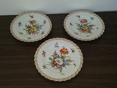 9 Inch Scallop Rim Dresden Germany Bowls-Plates-Gilt-Hand-Painted Floral Motifs
