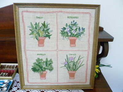 Vintage Hand Embroidered Wooden Frame Picture Herbs in pots