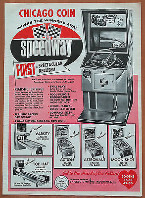 Chicago Coin Speedway~Varsity~Action~Astronaut~Moon Shot~Top Hat~'69 Pinball Ad