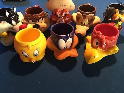 Looney tunes Mugs Tweety Wild Coyote X 8 COLLECTERS Cups Classic 1992