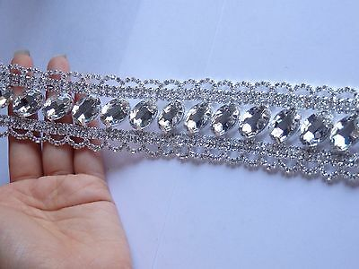 large rhinestone crystal applique trim patch patches diamante sew on motif -10