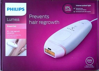 NEW Philips LUMEA ESSENTIAL IPL Laser Hair Removal BRI861/00 Body & Face